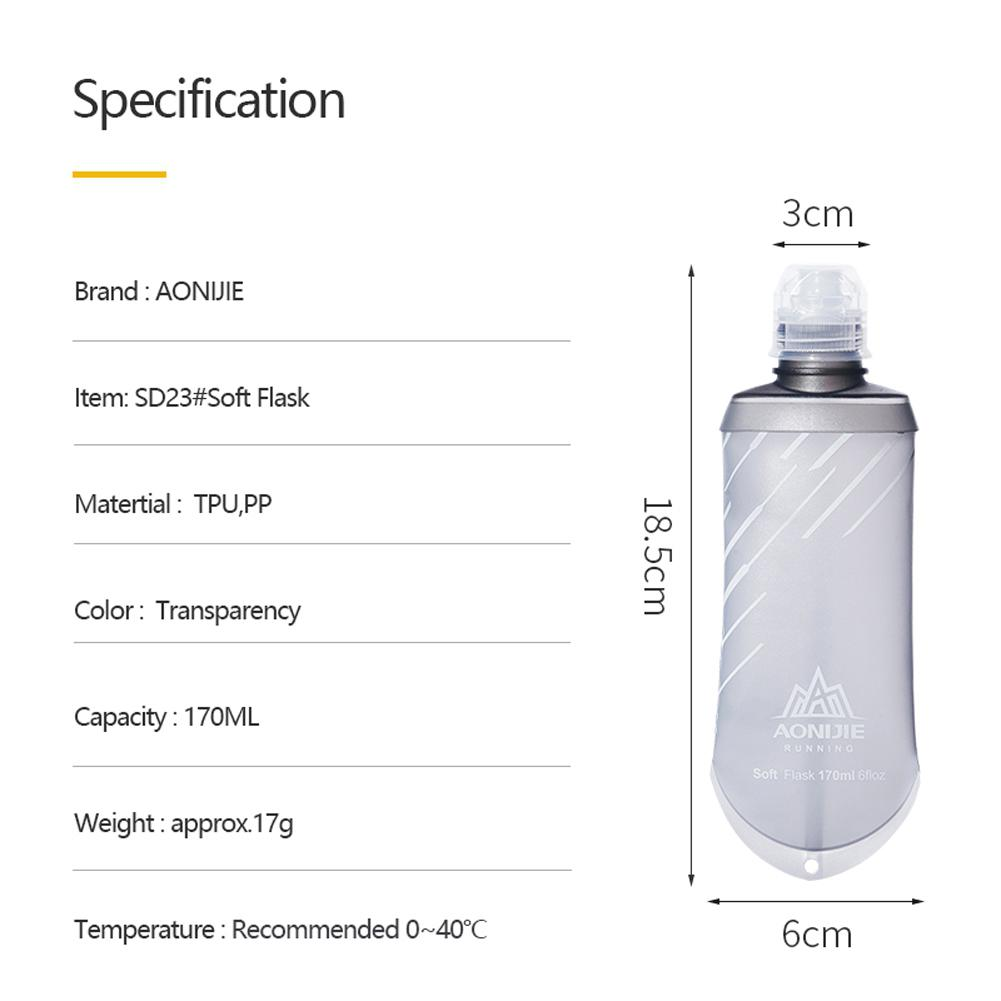 300ML Soft Portable Water Bottle Sports Bike Running Infuser Jogging Hiking Gym