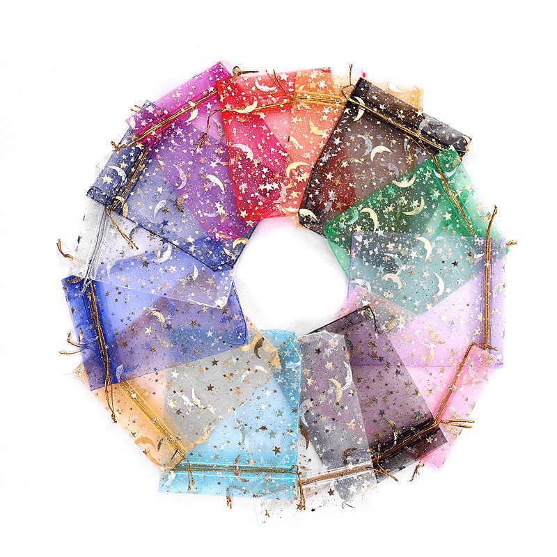 100 יח'\חבילה ירח כוכב אורגנזה שקיות 7x9 9x12cm קטן חג המולד שרוך מתנת תיק תכשיטי קסם אריזות ושקיות