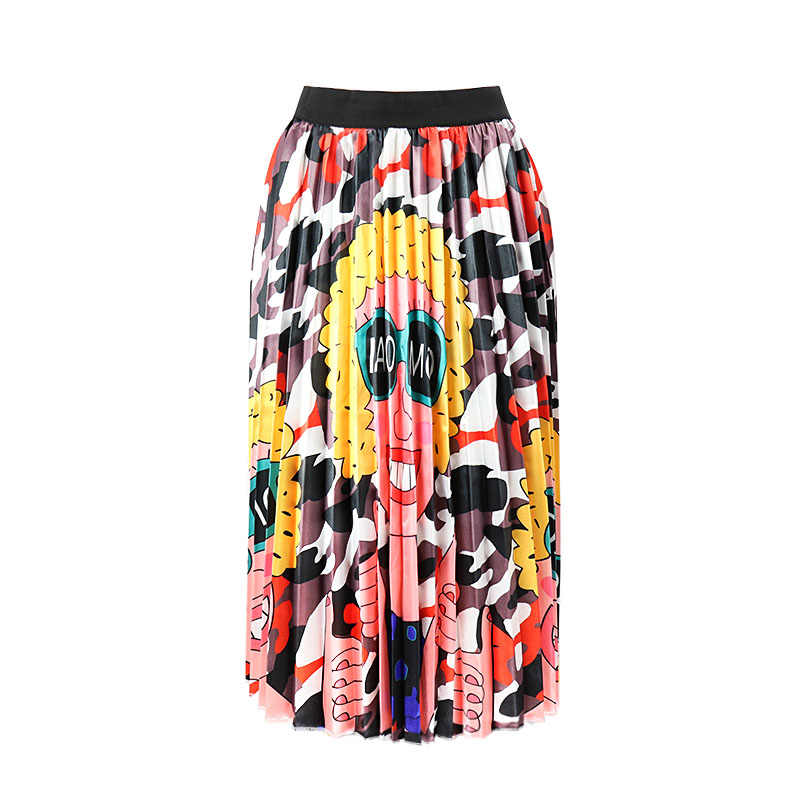 Apring Summer European Printing New Cartoon Pattern High Elastic Folds Street Style A Word Skirt