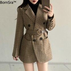 Женский пиджак в клетку BornSra, повседневный двубортный пиджак с поясом, приталенный пиджак, верхняя одежда, 2020