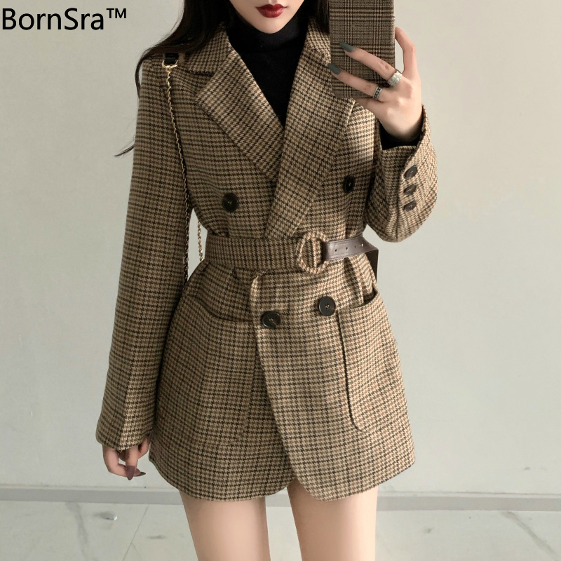 BornSra Korean Plaid Women Work Blazer Jacket 2020 Casual Double-breasted Sashes Suit Jacket Female Slim Female Blazer Outwear