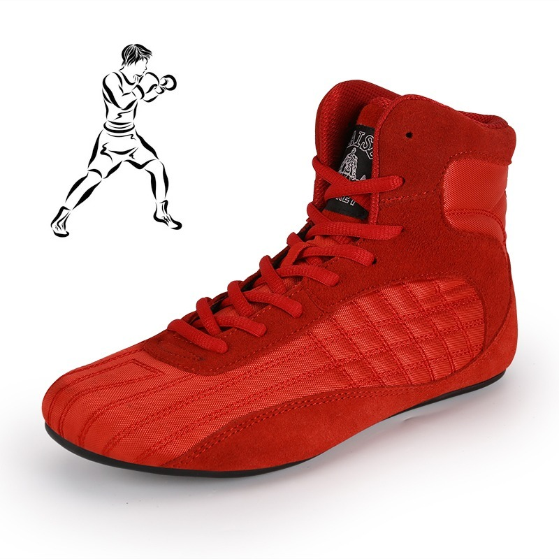 Men Ankle Wrestling Shoes Light Weight Boxing Sneaker for Men Professional Sport Training Sneaker Gym Sanda Combat Fighting Shoe