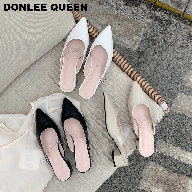 2020 Fashion Women Pointed Toe Slippers Square Low Heels Ladies Slides Brand Mules Shoes Casual Outdoor Slipper Zapatos De Mujer