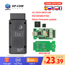 Opcom v5 1.70 1.95 1.99 pic18f458 ftdi flash atualização de firmware op com para opel obd obd2 scanner carro ferramenta diagnóstico cabo 1.7