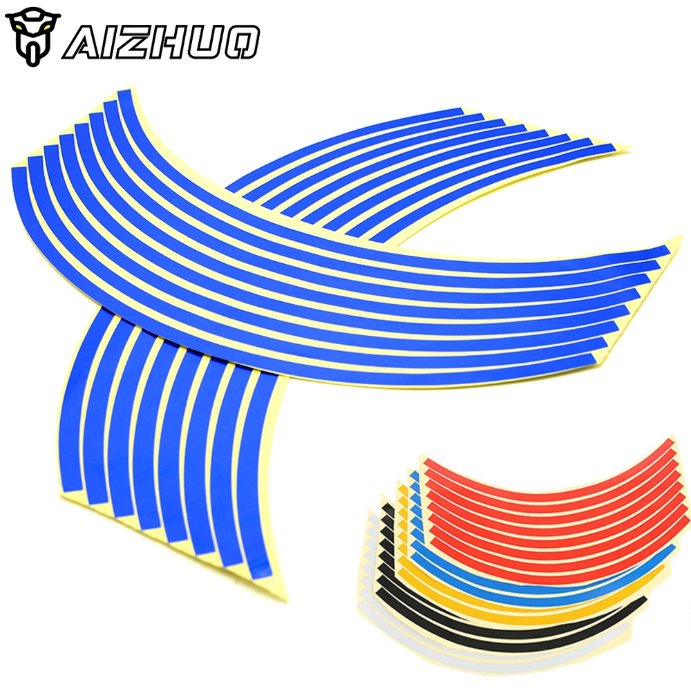 16 Strips 17inch/18inch wheel Motorcycle Wheel Tire Rim <font><b>Stickers</b></font> For <font><b>BMW</b></font> F R K 650 700 800 <font><b>1200</b></font> 1300 <font><b>GS</b></font> R RS Adventure image