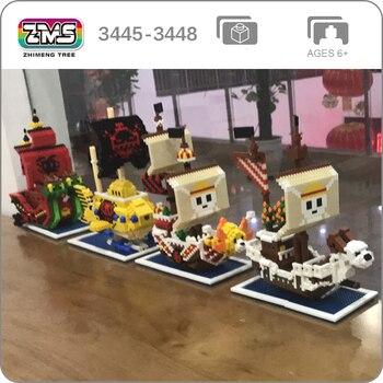 ZMS una pieza Luffy mil Sunny Going Merry Snake Law submarino piratas barco 3D DIY Mini bloques de diamante juguete de construcción sin caja