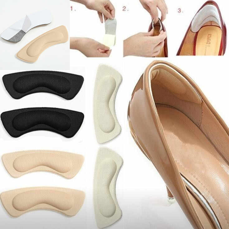 2Pairs Soft Foam Insoles High Heel Shoes Pad Foot Care Tool Heelpiece Feet Stick Foot Pad Toe Cushion Insoles Relieve Pain