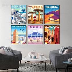 İskandinav Vintage seyahat şehirler afrika Poster fas tanzanya namibya arapça peyzaj sanat tuval boyama duvar resmi ev dekor