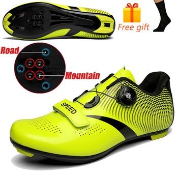 Carbon Fiber Men Cycling Shoe Breathable Triathlon Mountain Bike Shoes Man Sport Road Racing Snaeker Spin Buckle 17