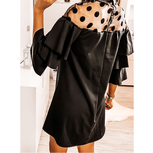 2020 Sexy Mesh Polka Dot See Through Ruffled Turtleneck Butterfly Sleeve Women Dress Sexy Dress Women Party Night 5