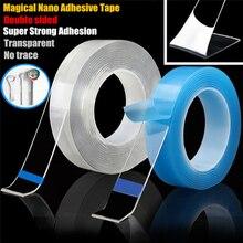 1 м многоразовая Двухсторонняя клейкая нано не оставляющая следов лента снимающиеся наклейки моющиеся Волшебные клейкие петли диски галстук клей гаджет