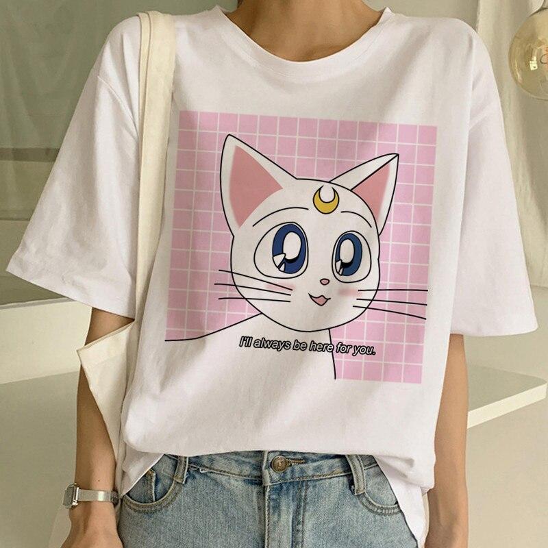Sailor Moon Harajuku Ullzang T Shirt Women 90s Korean Style Funny Anime T-Shirt Cute Cat Tshirt Aesthetic Cartoon Top Tee Female