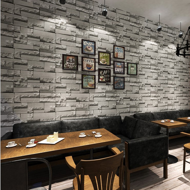 Manufacturers Direct Selling 3D Nonwoven Fabric Vintage Brick Pattern Wallpaper Dark Gray Bricks Clothing Store Hotel Decoration