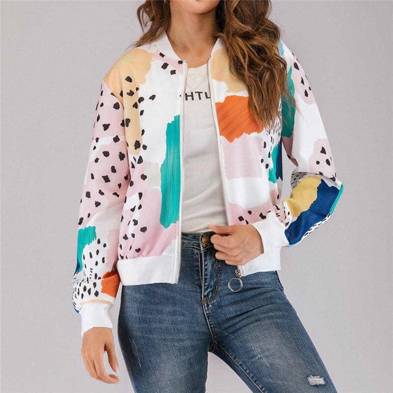Ladies Pattern Print Chain Leopard Zip Up Bomber Jacket Coat Black Summer Autumn