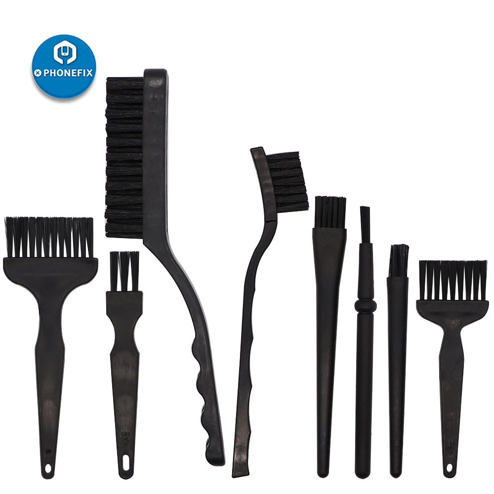 PHONEFIX 8 Kinds Mixed Anti Static Brush ESD Safe Cleaning Brush Tool For Mobile Phone Motherboard BGA Repair Cleaning Hand Tool