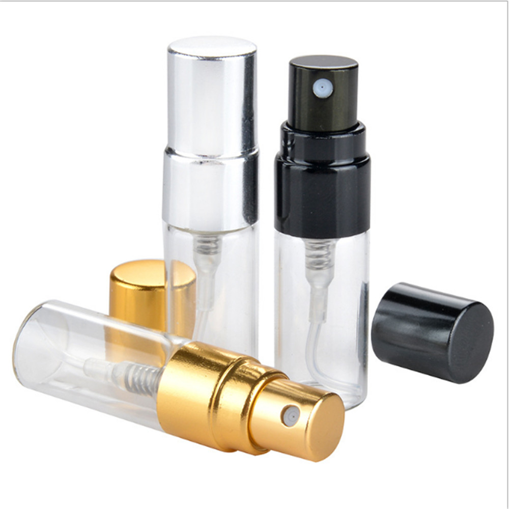 2/2.5/3ml Portable Clear Glass Spray Bottle Anodized Aluminum Nozzle Perfume Cosmetic Refillable Bottle Frost Gold Silver Black