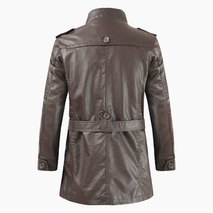 Image 5 - Oumor Männer Herbst Mode Lange Warme Fleece Leder Jacke Mantel Männer Winter Casual England Stil Vintage Leder Jacke Parkas Männer