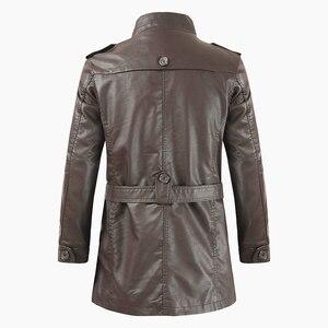 Image 5 - Oumor גברים סתיו אופנה ארוך חם צמר עור מעיל מעיל גברים החורף מקרית אנגליה סגנון בציר עור מעיל מעיילי גברים