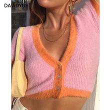Розовый кардиган, женские свитера, корейский укороченный свитер, желтые осенние Топы с коротким рукавом, v-образный вырез, короткий кардиган, мохер, свитер, осень