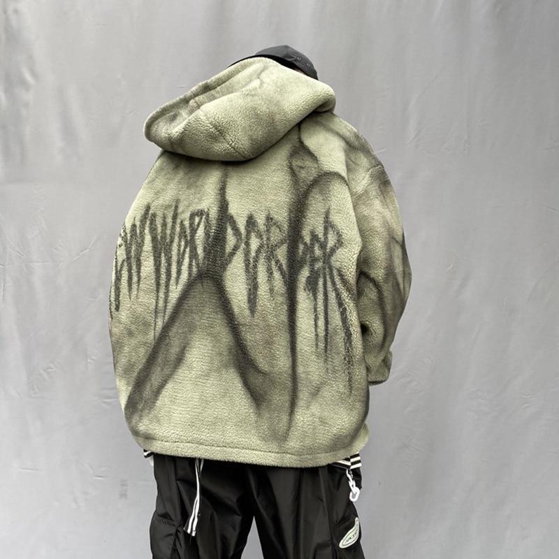 Seveyfan, Мужская Флисовая Куртка с капюшоном в стиле хип хоп, винтажная, с буквенным принтом, негабаритная, утолщенная, теплая куртка и пальто для мужчин, R3064 - 6