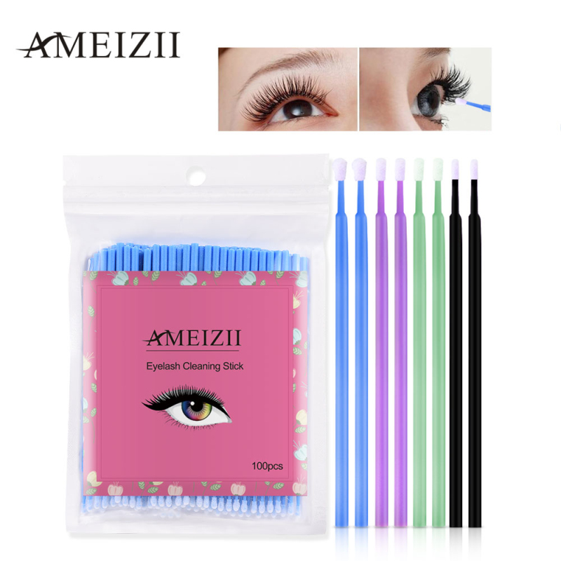 AMEIZII Brand New 100 Pcs Eyelashes Cosmetic Swabs Applicator Brushes Dental Mircro Brush Micro Mascara Wands Spoilers Wholesale