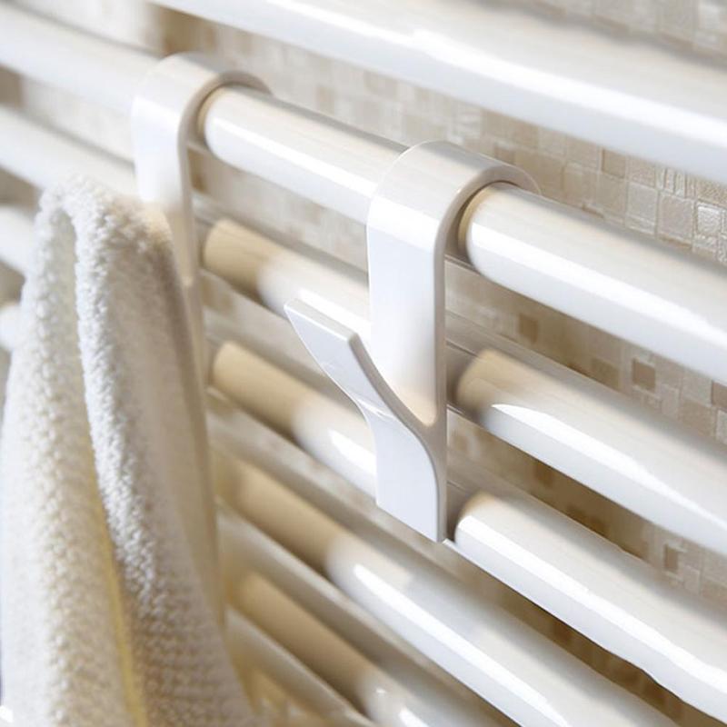 5pcs White Towel Mop Coat Hooks Transparent Storage Hanging For Bath Heated Radiator Clothes Hanger Organizer Decoration Tools