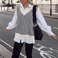 Simplee Houndstooth knitted sweater vest women V neck sleeveless oversized pullover vintage Fall winter female waistcoat sweater