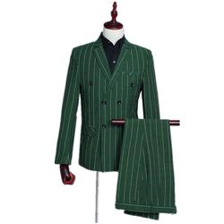 White Striped Lapel Slim Green Plaid Mens Casual Suit (Jacket + Pants + Vest) 3 Piece Fashion Double Breasted Suit Set
