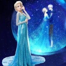 Sıcak satış Elsa kraliçe yetişkin kadın elbise kostüm Cosplay çiçekli fantezi parti cüppeli elbiseler Vestido mavi seksi prenses cadılar bayramı