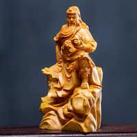 Деревянная статуя Guan Gong, статуя Будды, скульптура Boxwood, деревянная резьба, украшение для дома Guan Yu, мини-украшения