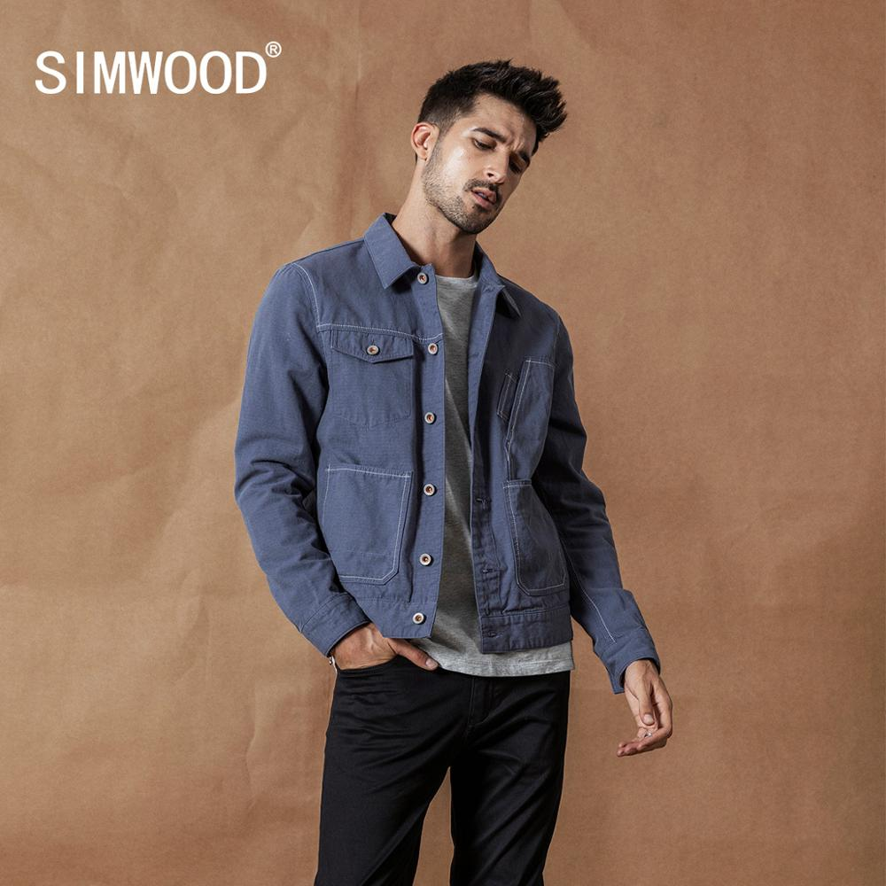 SIMWOOD 2020 Spring New Jackets Men Fashion Top-stitching Details Jacket 100% Cotton Outerwear High Quality Coats SI980509
