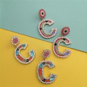FASHIONSNOOPS luksusowe przesadzone Vintage Rhinestone Crystal Letter Drop kolczyki dla kobiet biżuteria Boho moda ślubne kolczyki