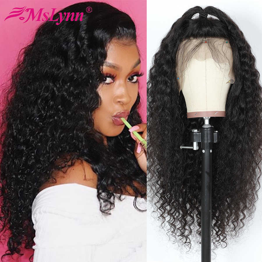Mslynn 360 Lace Frontal Wig Pre Plucked With Baby Hair Deep Wave Lace Frontal Wig 100% Human Hair Wigs Remy Hair Natural Black