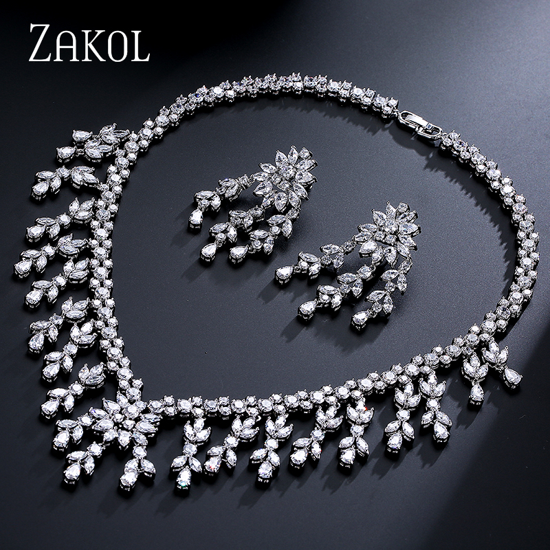 ZAKOL Shiny White Color Women Jewelry Luxury Marquise Zircon Cluster Tassel Jewelry Set For Women Anniversary FSSP259