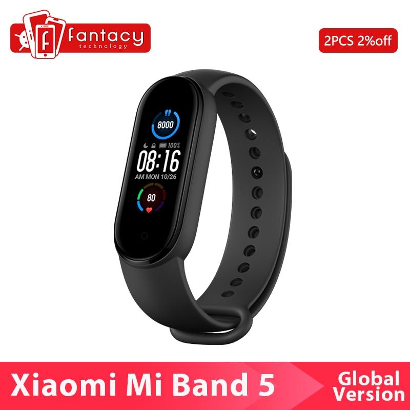 "Global Version Xiaomi Mi Band 5 Smartband Color 1.2"" Touch Screen Miband 5 Wristband Fitness Heart Rate Monitor Sport Waterproof Smart Wristbands  - AliExpress"