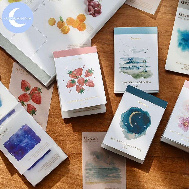 YueGuangXia 5pcs/box Watercolor Sakura Starry Sky Scrapbooking/Card Making/Journaling Project DIY Retro Hangtag With Hole Cards