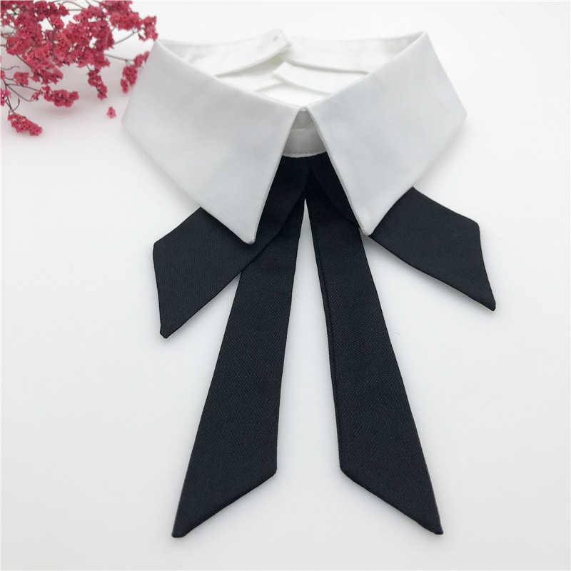 Women Neckwear Tie Pearl Bead Chiffon Lace Flower Neckline Fake Collar Rhinestone Detachable False Collar Removable Lapel Top