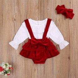 2020 novo 0-24m natal recém-nascido bebê meninas roupas conjunto babados branco topo arco vermelho veludo shorts bandana roupa de natal