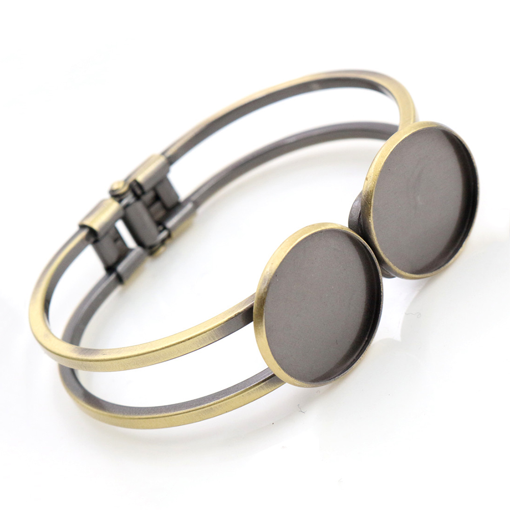 High Quality  20mm Brushed Metal Plated Bangle Base Bracelet Blank Findings Tray Bezel Setting Cabochon Cameo (L1-25)