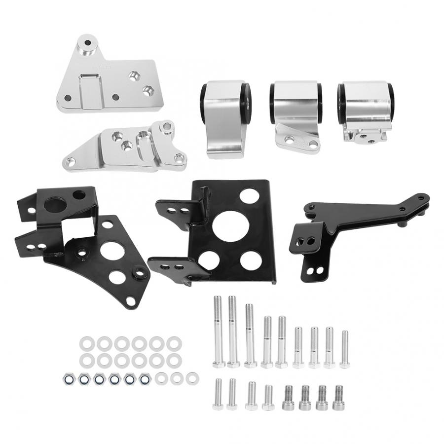 lowest price Aluminum Alloy Engine Mount Bracket Kit Fit For Honda EK Chassis K-Swap Civic 1996-2000 Car modification accessories