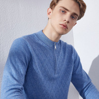 Man Sweaters and Pullovers 100% Cashmere Knitting Jumpers 5Colors Winter New Fashion Zippers Neck Men Sweater Clothes