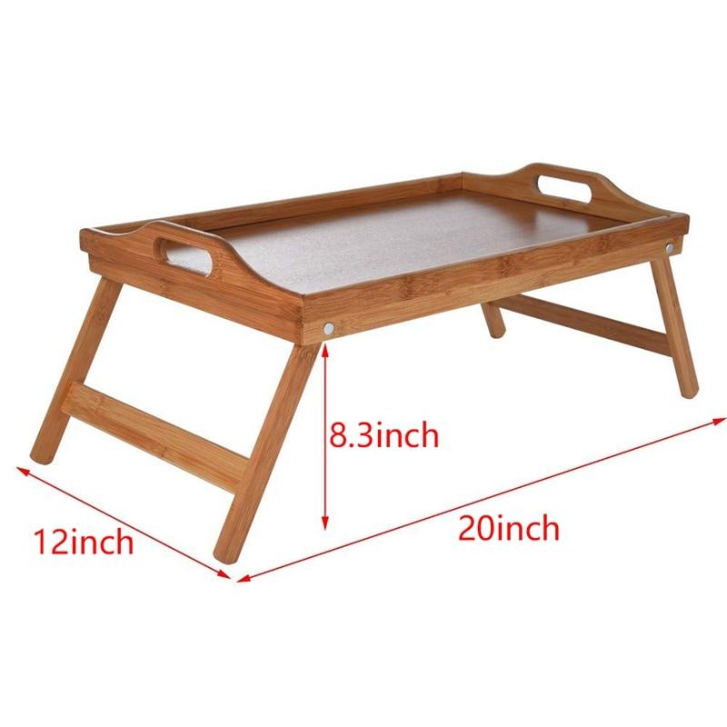 Натуральный Бамбуковый поднос для сервировки завтрака с ручкой, сервировка завтрака в кровати или использование в качестве ТВ-стола складная кровать стол для ноутбука-4