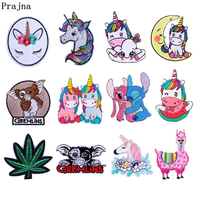 Prajna Cartoon Unicorn Patch Embroidered Patches For Clothing Iron On Clothes Cute DIY Badges Kids Appliques