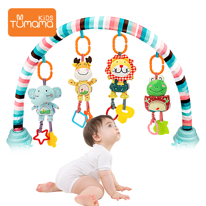 TUMAMA Baby Toys Handbells Baby Rattles With Teethers Soft Plush Early Development Stroller Car Toys For Infant Newborn Gift