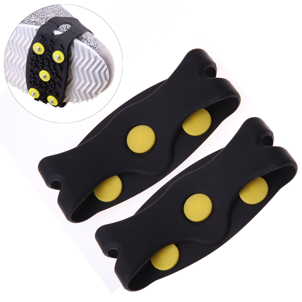 1Pair 5Stud Non Slip Snow Shoe Spikes Winter Anti Slip Ice Grips Cleats Crampons Climbing Outdoor Hiking Shoes Cover Crampons