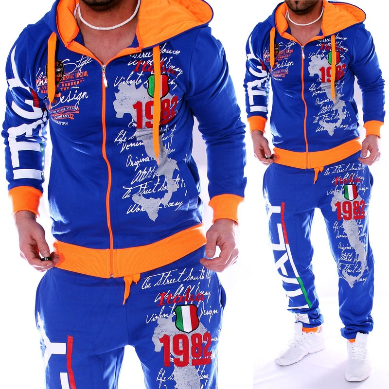 ZOGAA Autumn Men Sweatsuit Hoodies Jacket+Jogger Sweatpants Man Printing Suits 2PCS Tracksuit Men Casual Patchwork Sportwear Set