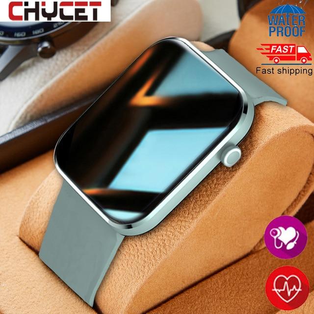 Chycetスマート腕時計男性女性心拍数血圧フィットネストラッカー時計音楽コントロールスポーツスマートウォッチandroid ios 2021