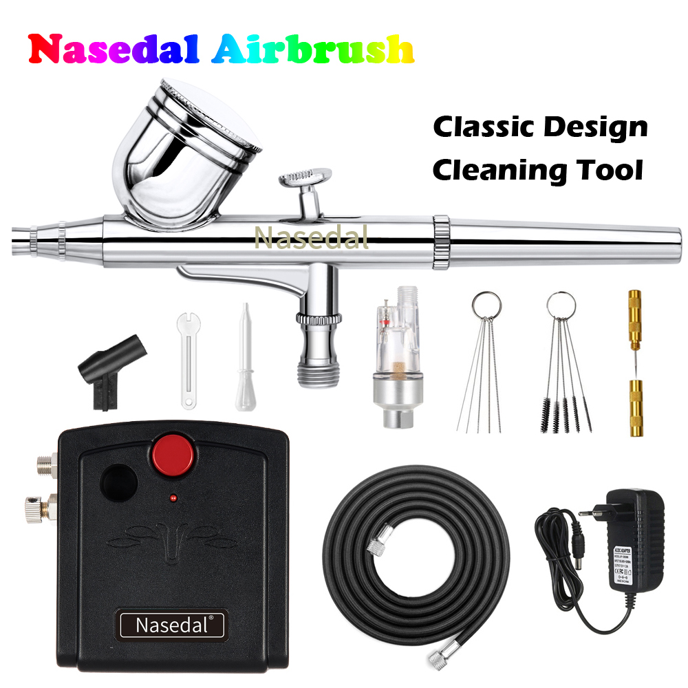 Nasedal Dual-Action Airbrush Compressor Kit Air Brush Paint Gun Cleaning Tool Makeup Nail Paint Spray Gun Tattoo Body Car Paint