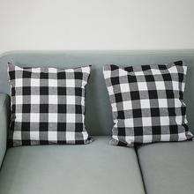 new Square Plaid Throw Pillow Case Cushion Protective Cover Home Sofa Bed Decor Pattern Removable  Breathable