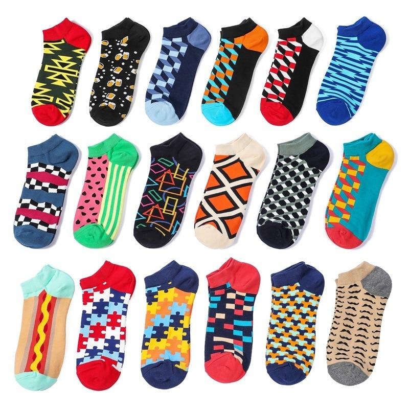 PEONFLY Trendy Happy Socks Men Cotton Boat Man Socks Interest Funny Originality Series Harajuku Ankle Sock Color Lattice